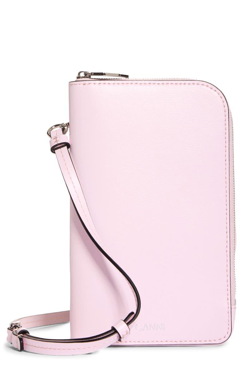 GANNI Leather Phone Crossbody Bag, Main, color, 650