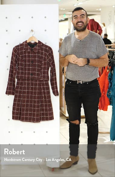 Long Sleeve Mock Two-Piece Tweed Dress, sales video thumbnail