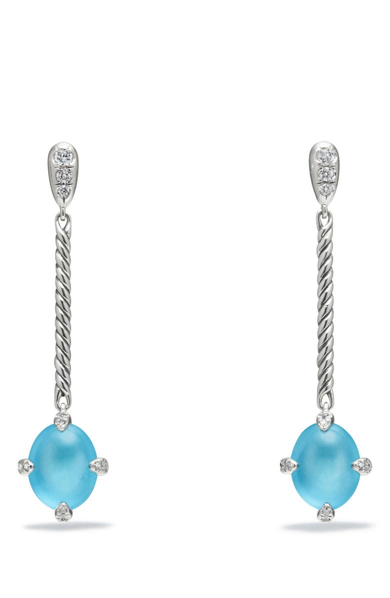 DAVID YURMAN Chatelaine<sup>®</sup> Cable Stick Drop Earrings with Gemstone & Diamond, Main, color, SILVER/ DIAMOND/ BLUE TOPAZ