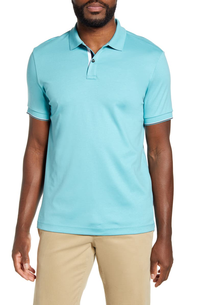 BOSS Parlay 78 Solid Polo, Main, color, TEAL