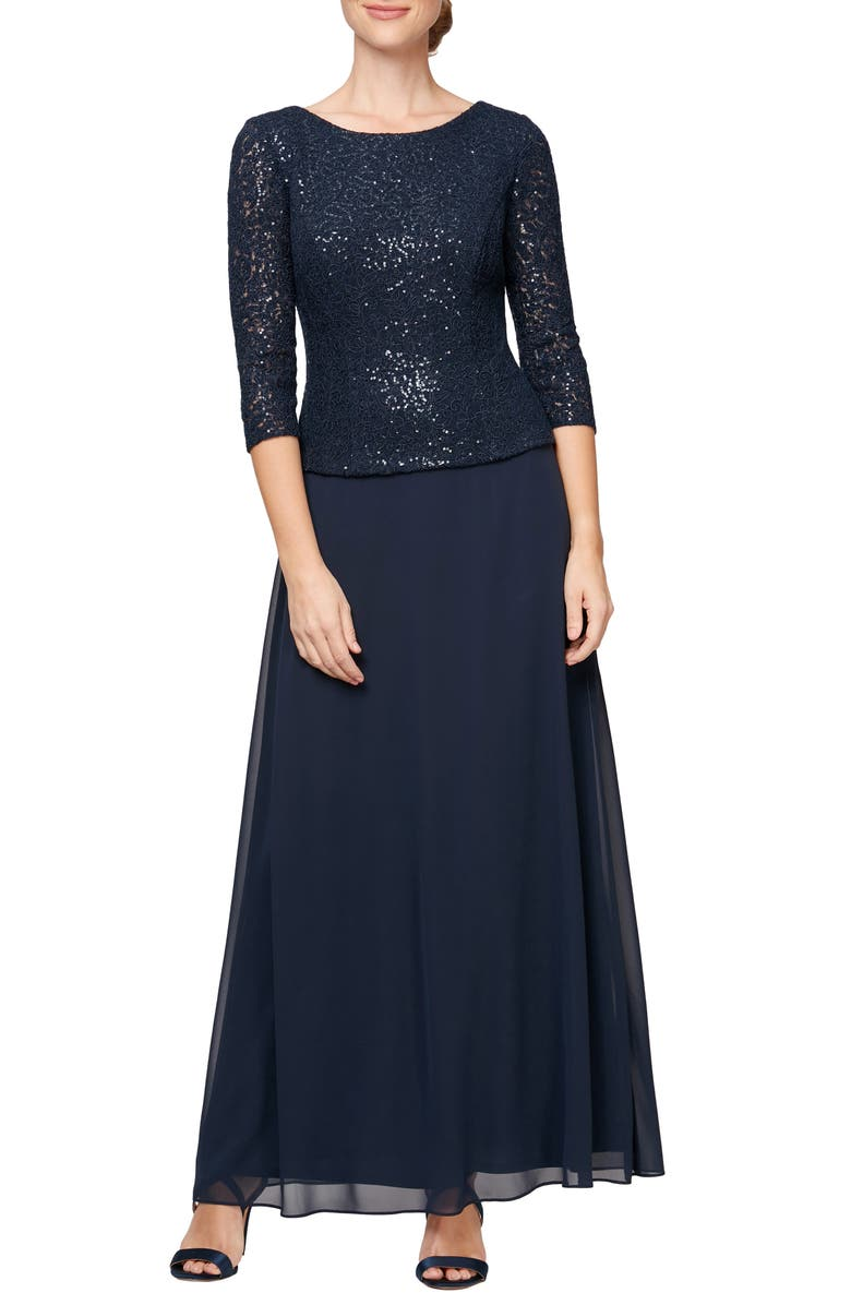 ALEX EVENINGS Sequin Lace & Chiffon Mock Two-Piece Gown, Main, color, NAVY