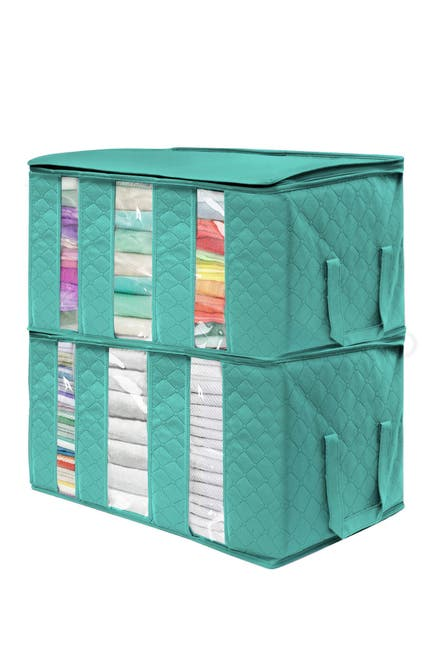 Image of Sorbus Foldable Storage Bag Organizer - Pack of 2 - Teal