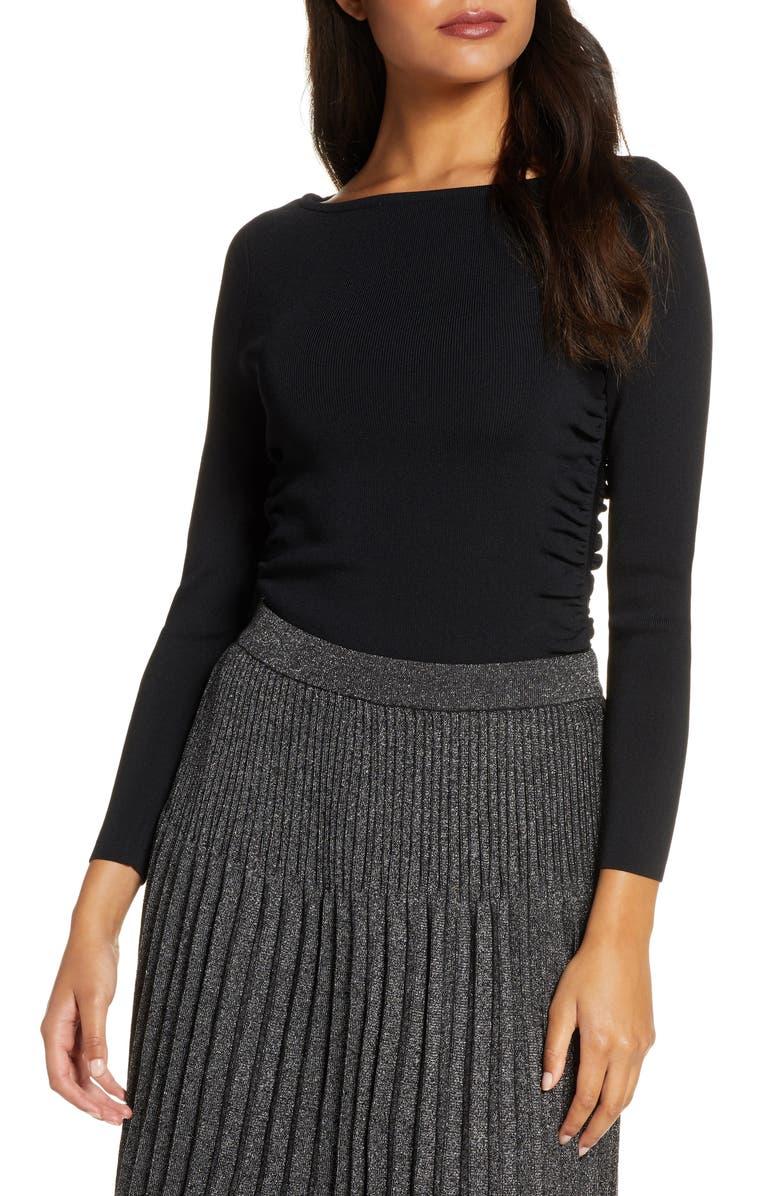 ELIZA J Long Sleeve Rib Sweater, Main, color, BLACK