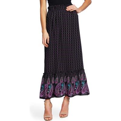 Cece Mosaic Paisley Ruffle Hem Skirt, Black