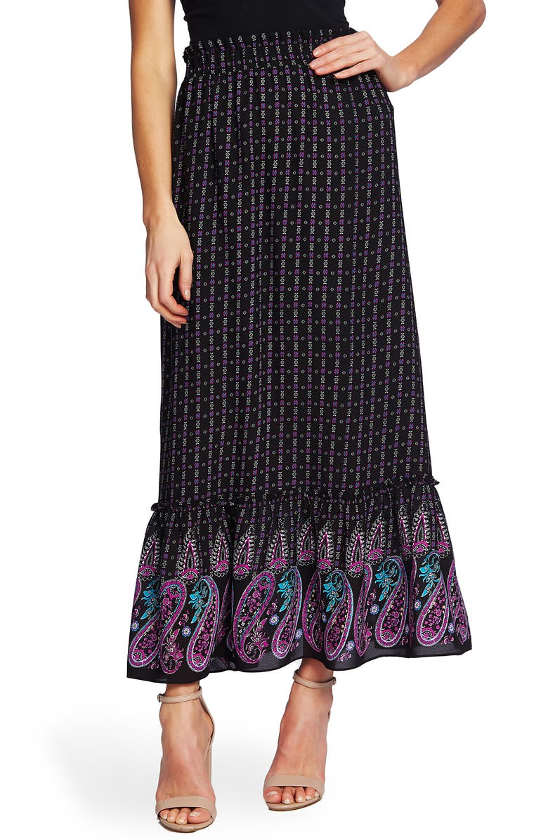 CECE Mosaic Paisley Ruffle Hem Skirt, Main, color, RICH BLACK