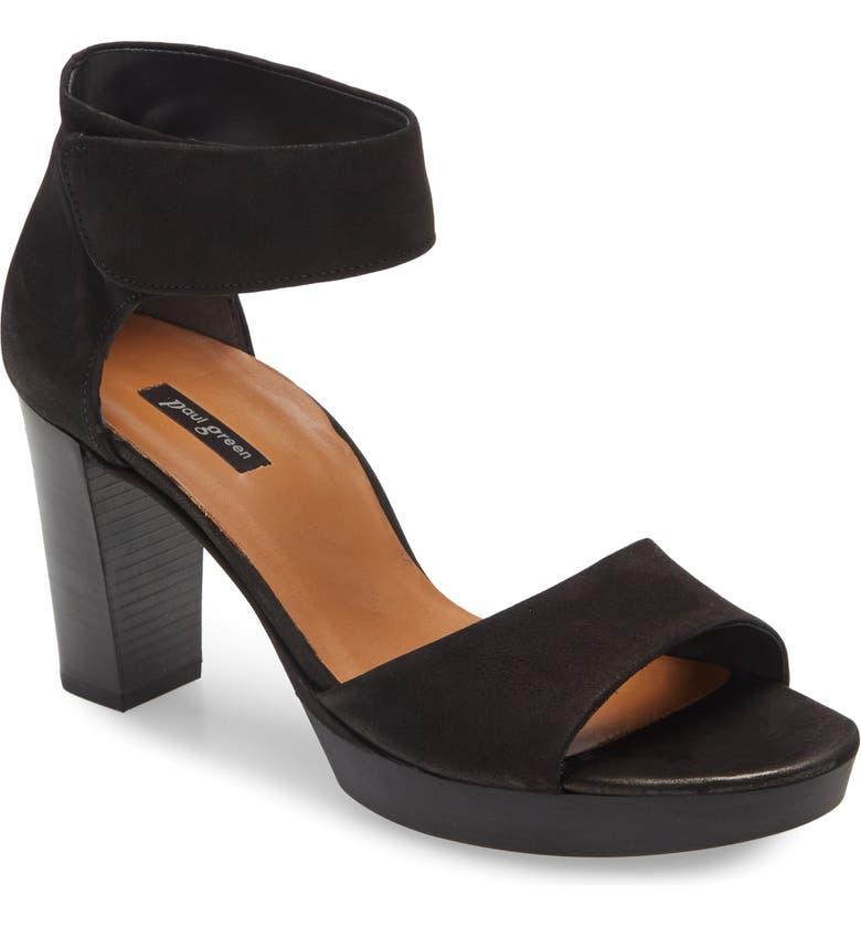 PAUL GREEN Charlene Ankle Strap Sandal, Main, color, BLACK SOFT NUBUCK