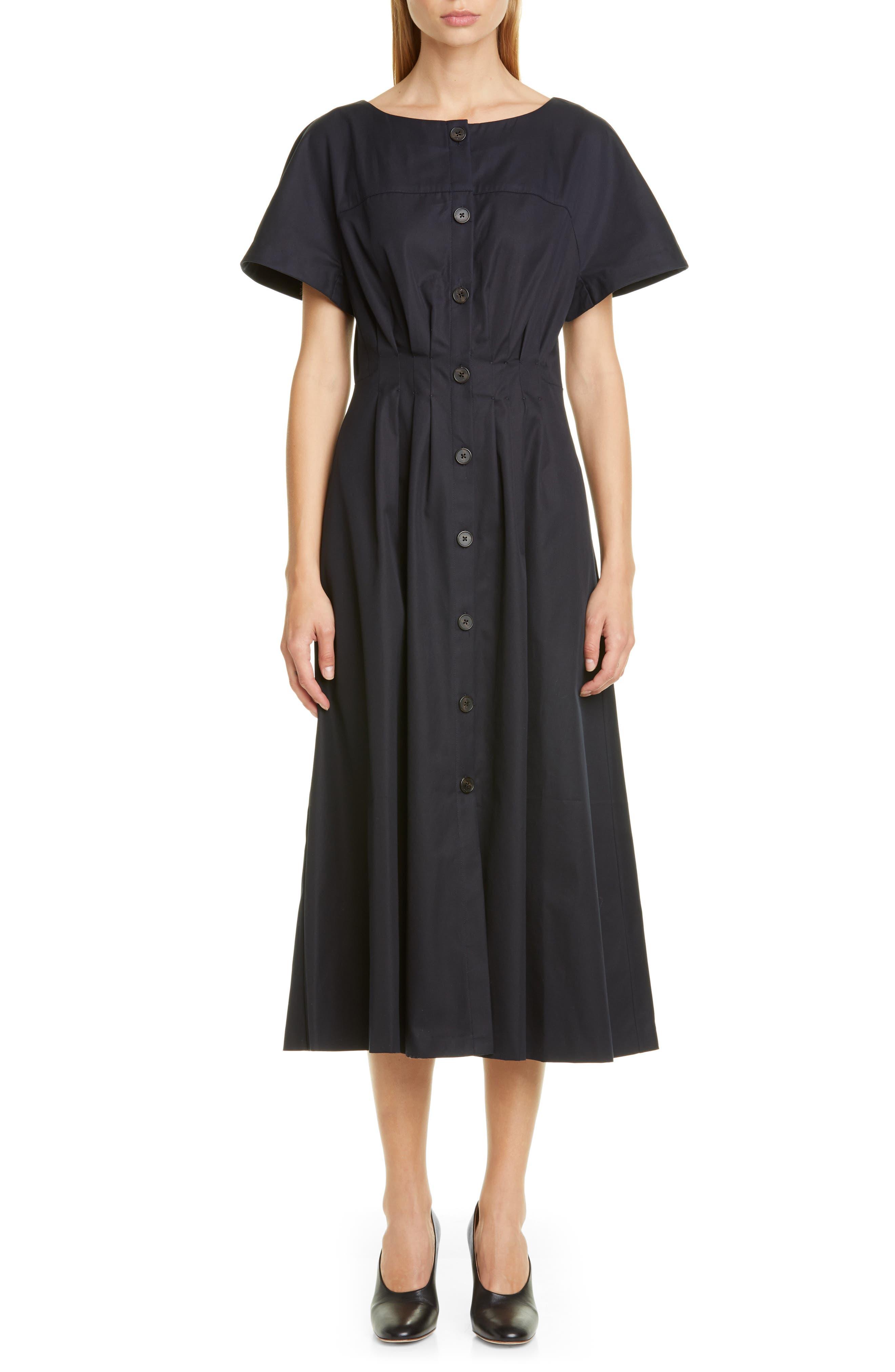 Adam Lippes Button Front Twill Midi Dress, Black