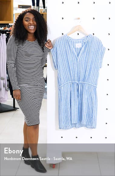 Emma Stripe Linen Blend Minidress, sales video thumbnail