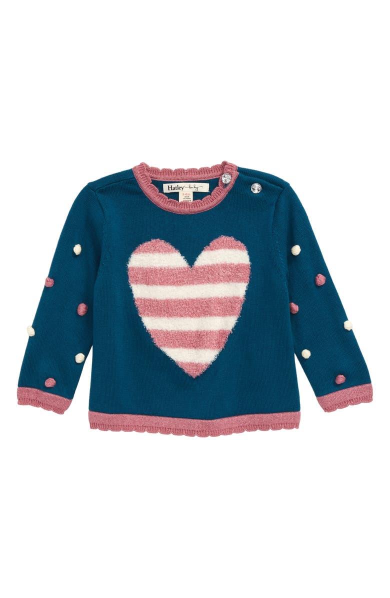 HATLEY Pompom Heart Sweater, Main, color, BLUE