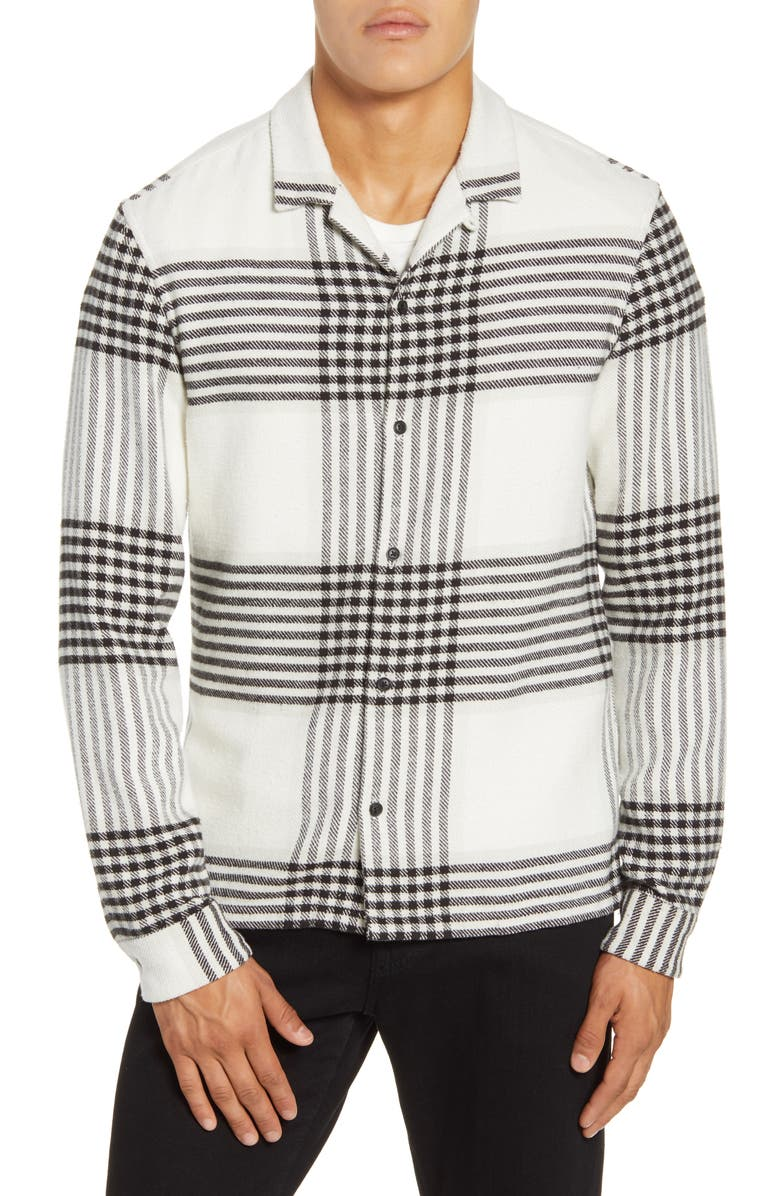 ALLSAINTS Modello Slim Fit Plaid Button-Up Sport Shirt, Main, color, ECRU WHITE