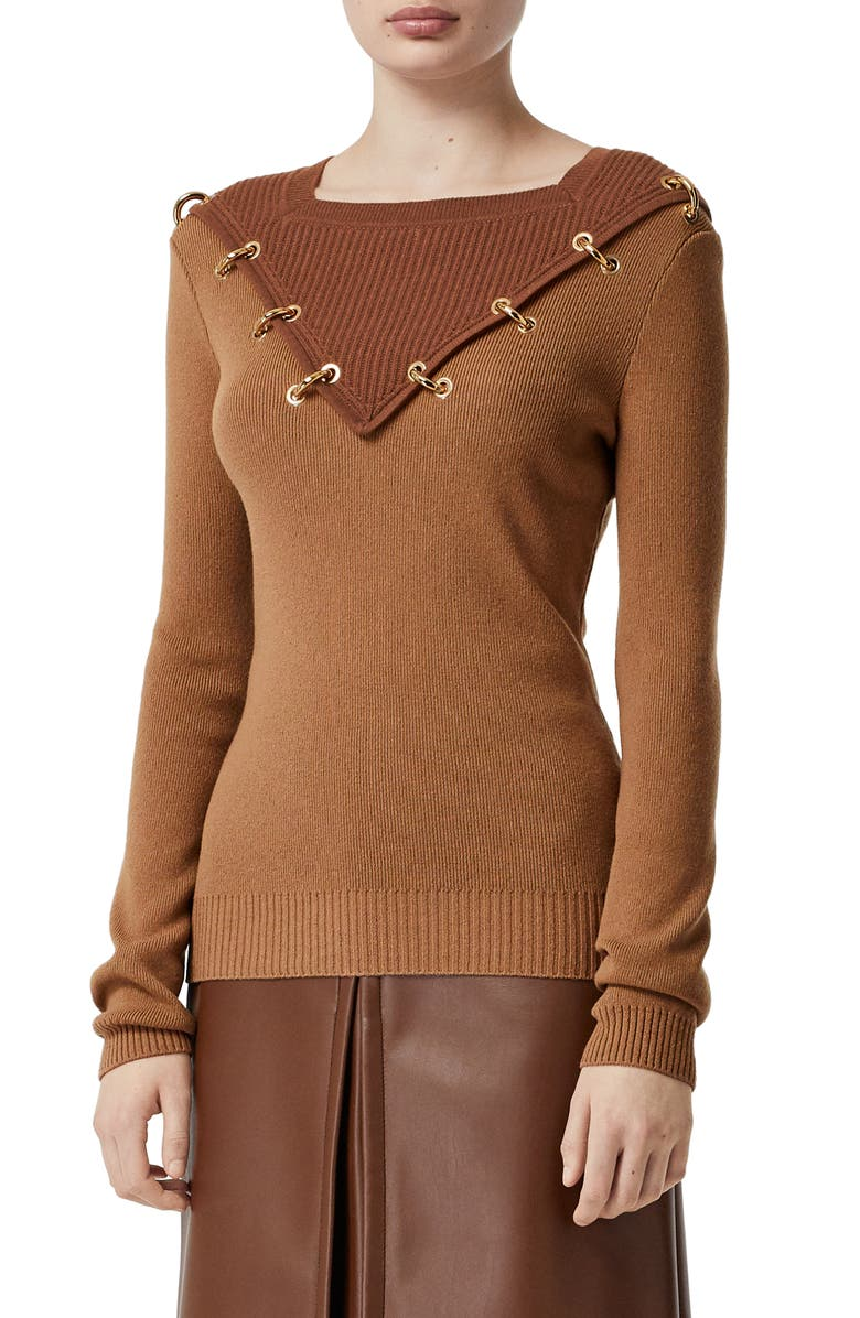 BURBERRY Contrast Neck Ring Detail Sweater, Main, color, WARM CAMEL