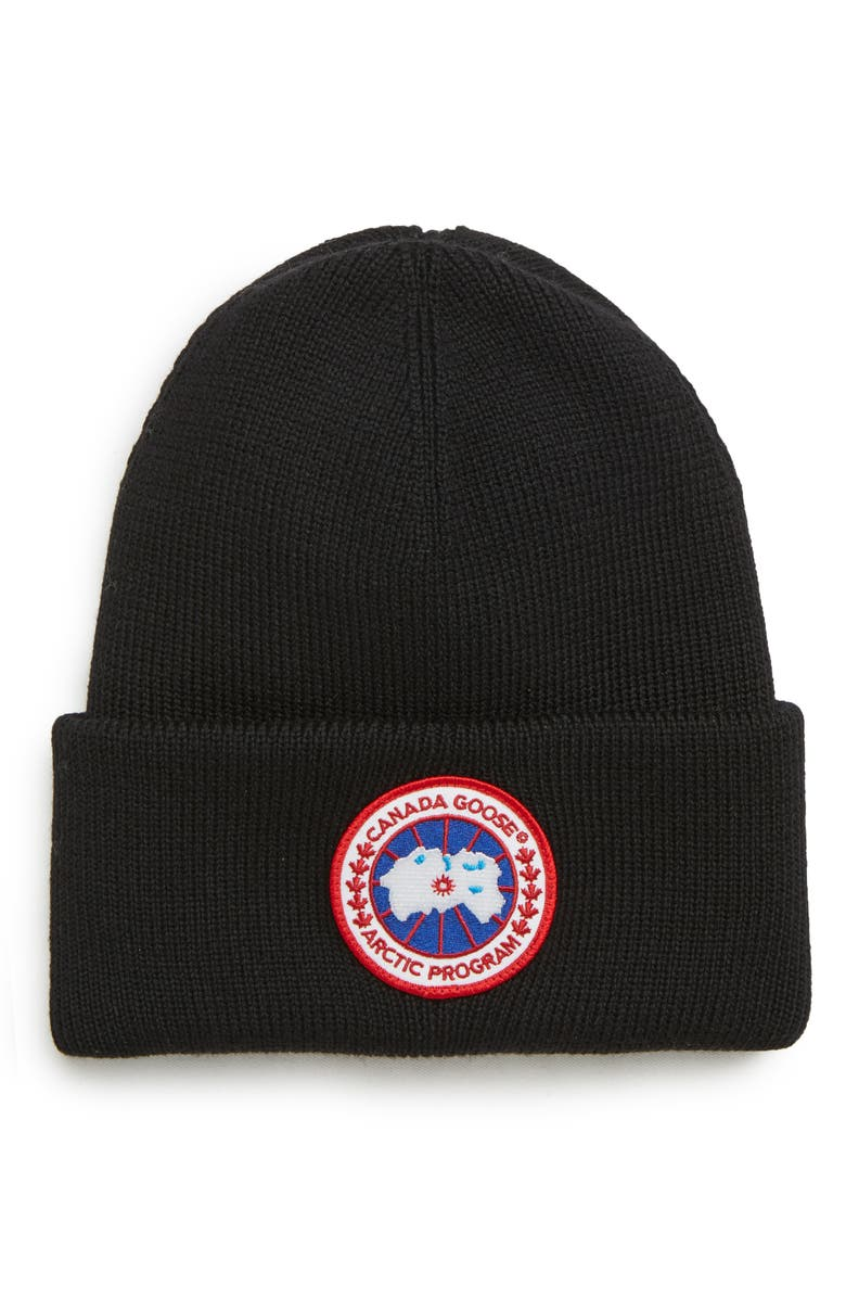 CANADA GOOSE Arctic Disc Merino Wool Toque Beanie, Main, color, 001
