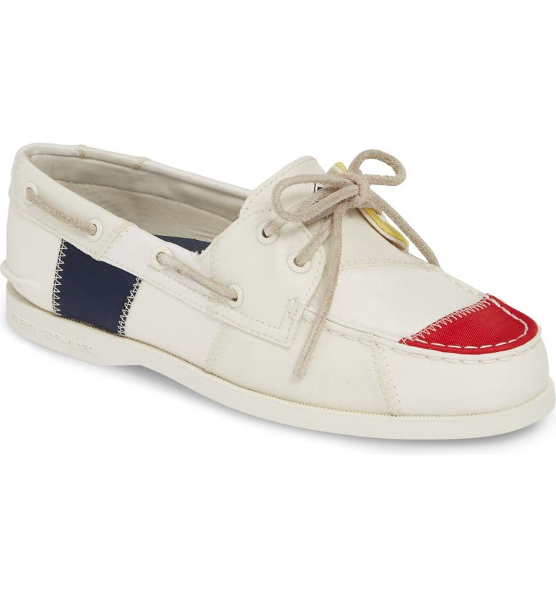 SPERRY Authentic Original BIONIC<sup>®</sup> Boat Shoe, Main, color, WHITE/ NAVY/ YELLOW CANVAS