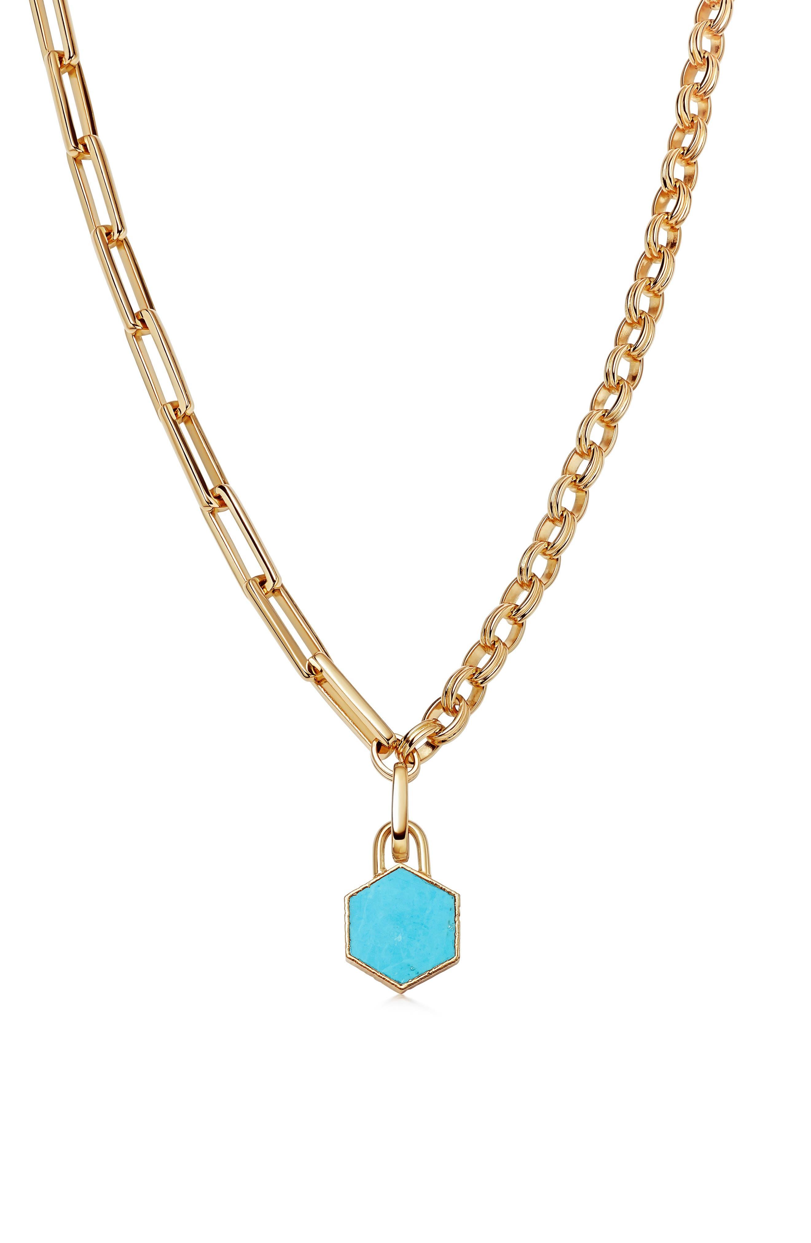 Imitation Turquoise Pendant Mixed Link Necklace