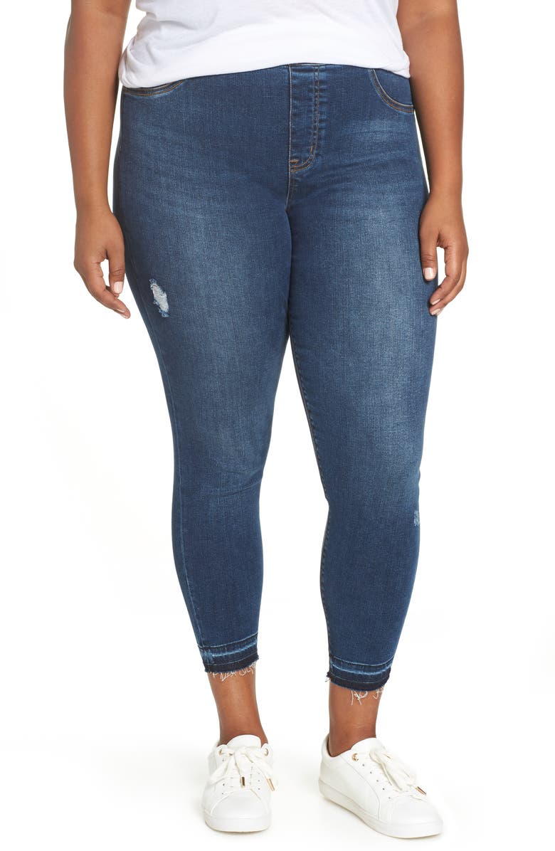 SPANX<SUP>®</SUP> Distressed Denim Leggings, Main, color, MEDIUM WASH