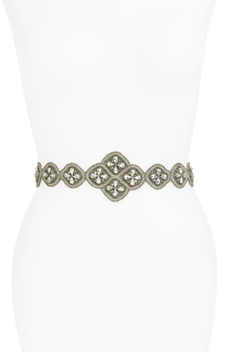 GLINT 'Florentine' Beaded Stretch Belt, Main, color, 040