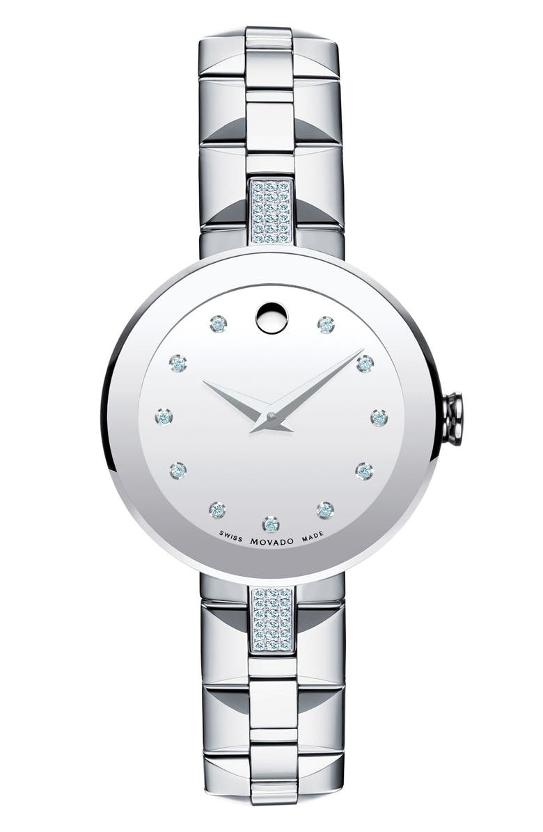 MOVADO 'Sapphire' Diamond Mirror Dial Bracelet Watch, 28mm, Main, color, 040
