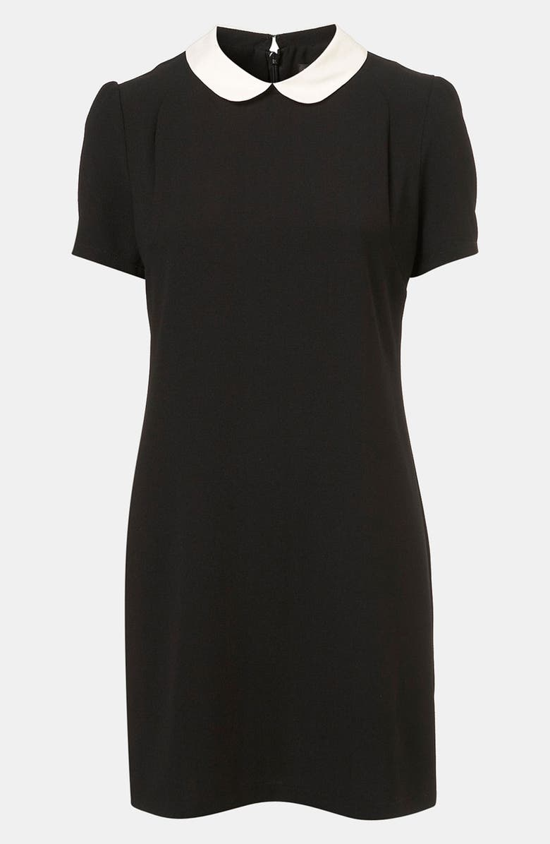 TOPSHOP Contrast Collar Shift Dress, Main, color, 001