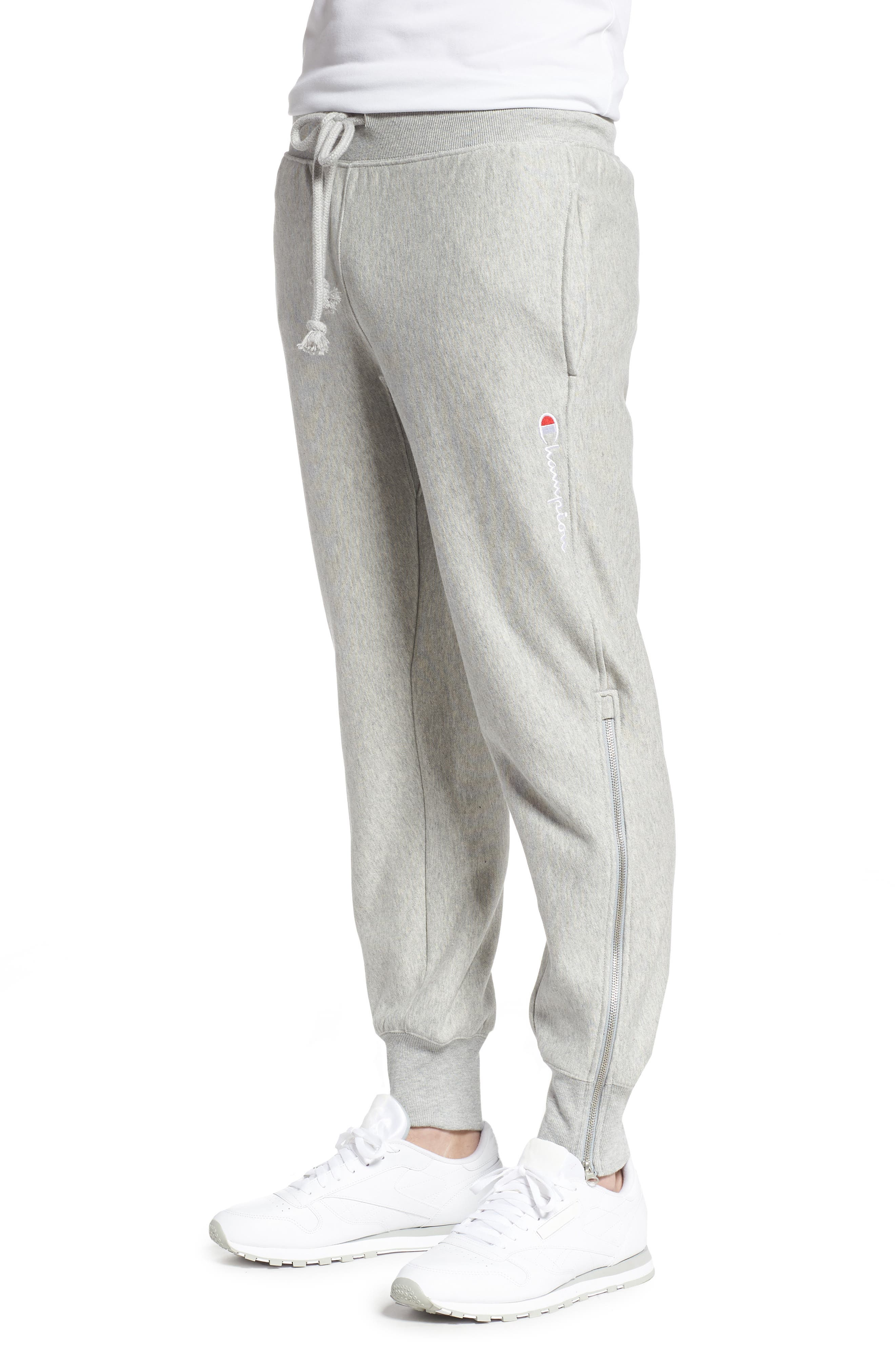 ,                             Reverse Weave Shift Sweatpants,                             Alternate thumbnail 4, color,                             OXFORD GREY/ WATERFALL GREEN