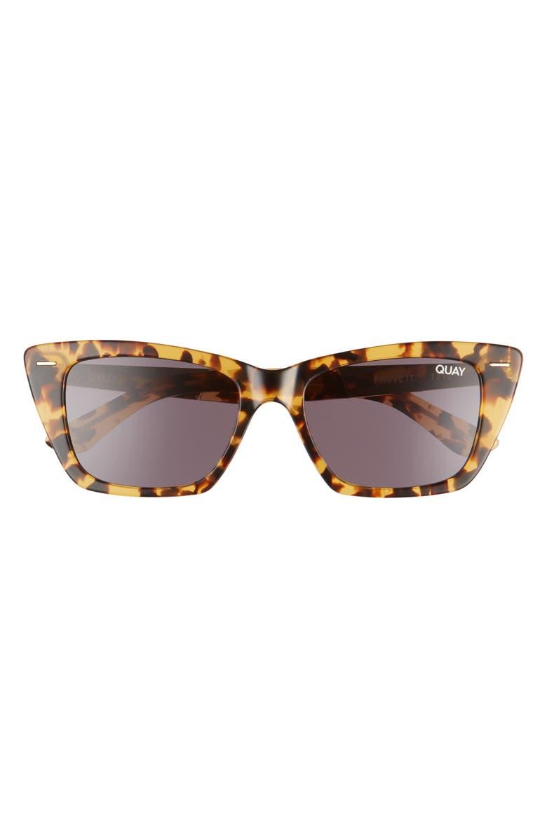 QUAY AUSTRALIA Prove It 52mm Cat Eye Sunglasses, Main, color, TORTOISE/ BLACK