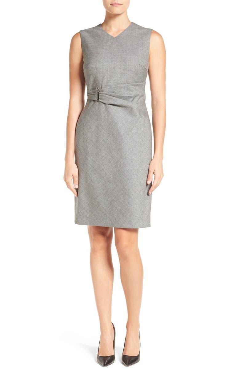 BOSS 'Dakirsa' Wool Sheath Dress, Main, color, 009