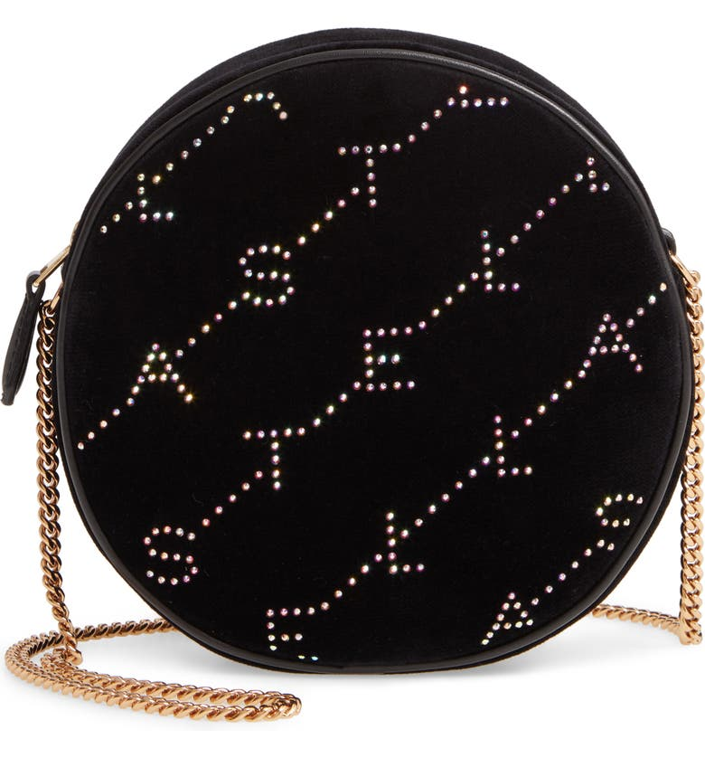 STELLA MCCARTNEY Crystal Monogram Velvet Circle Crossbody Bag, Main, color, BLACK