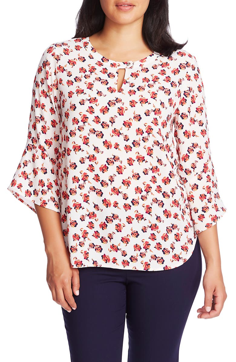 CHAUS Peony Print Bell Sleeve Stretch Crepe Top, Main, color, ANTIQ. WHITE