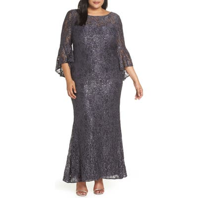 Plus Size Morgan & Co. Lace Bell Sleeve Gown, Grey