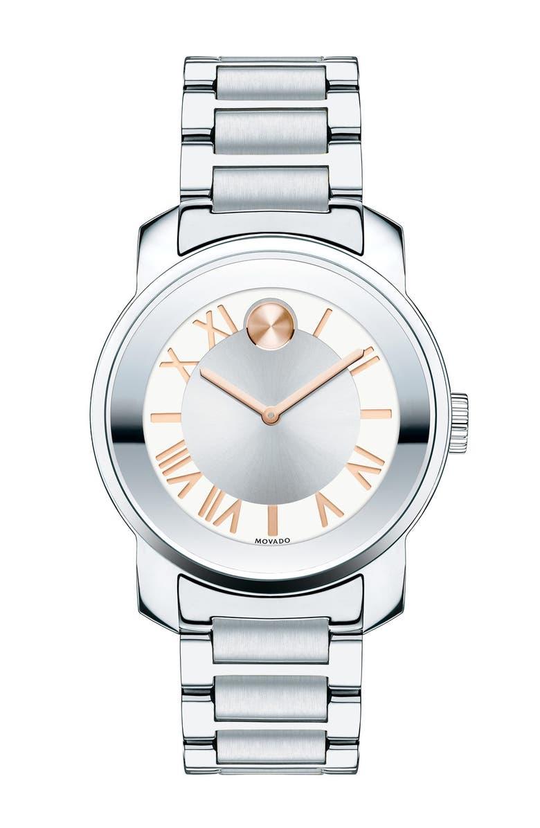 MOVADO 'Bold' Bracelet Watch, 32mm, Main, color, SILVER/ ROSE GOLD