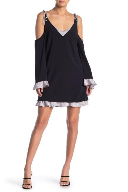 Image of Sugarlips Sandra Cold Shoulder Satin Trim Dress