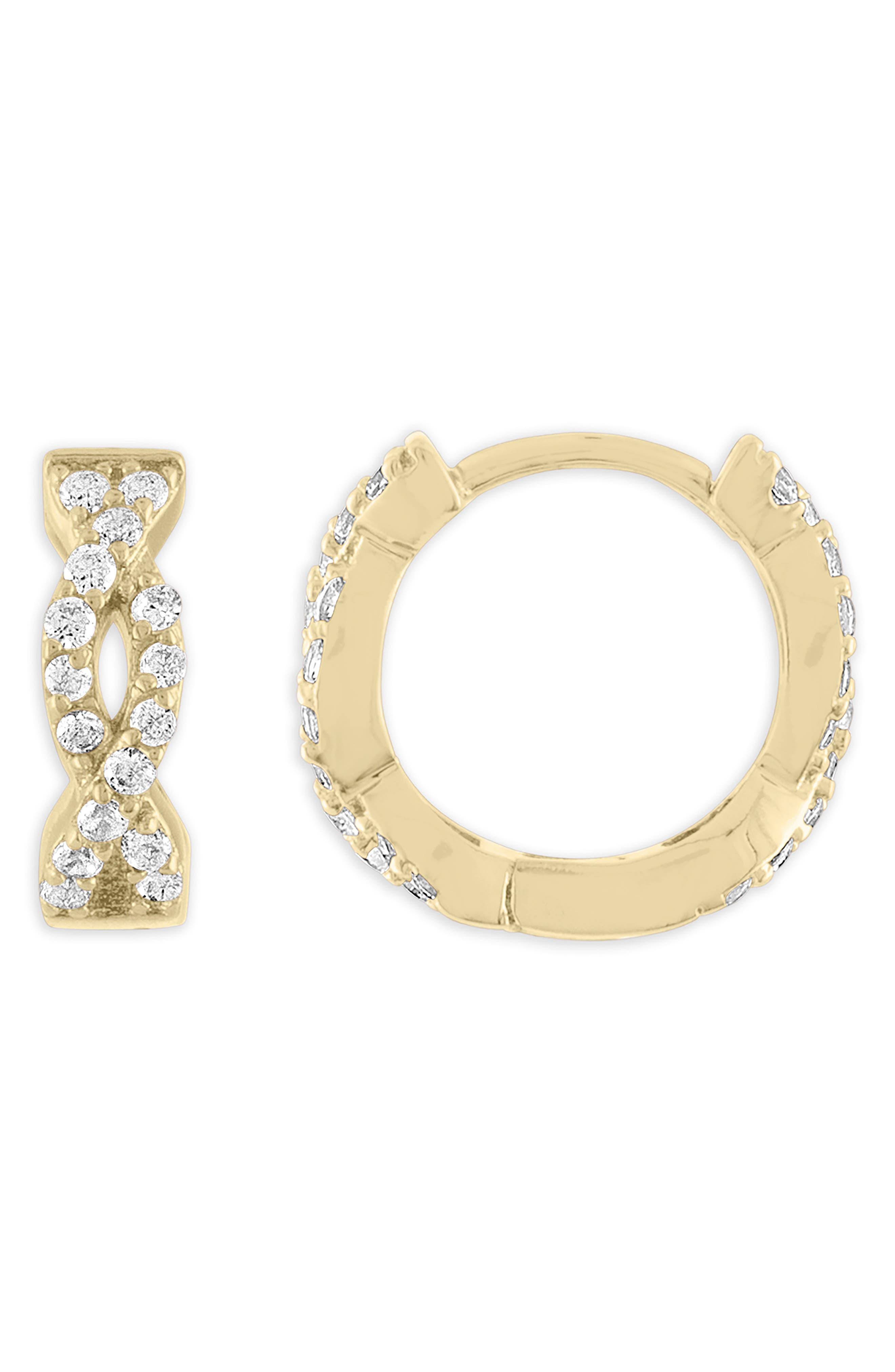 x Jeff K. Kim Twisted Huggie Hoop Earrings, Main, color, GOLD