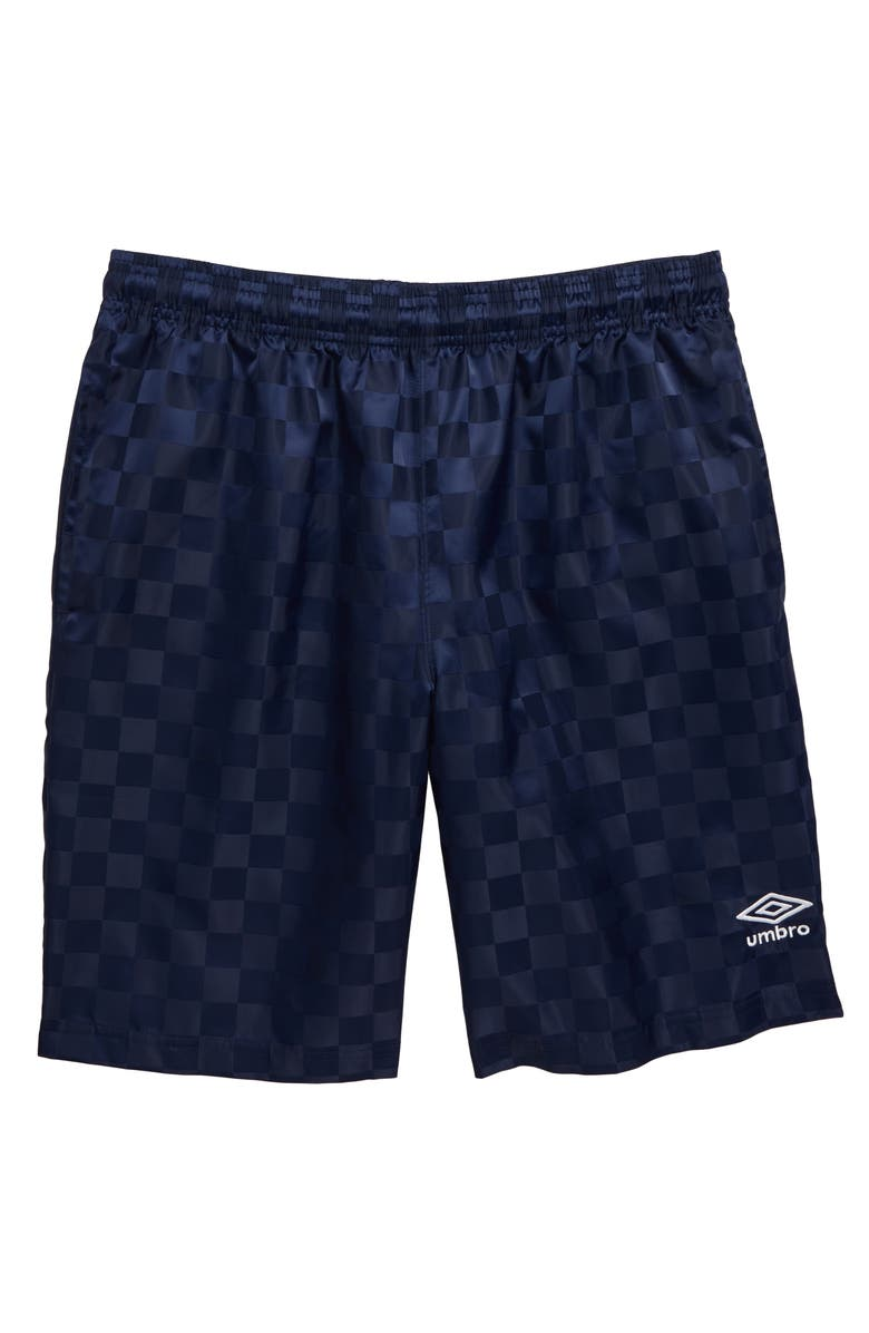 UMBRO Checkerboard Shorts, Main, color, NAVY/ WHITE