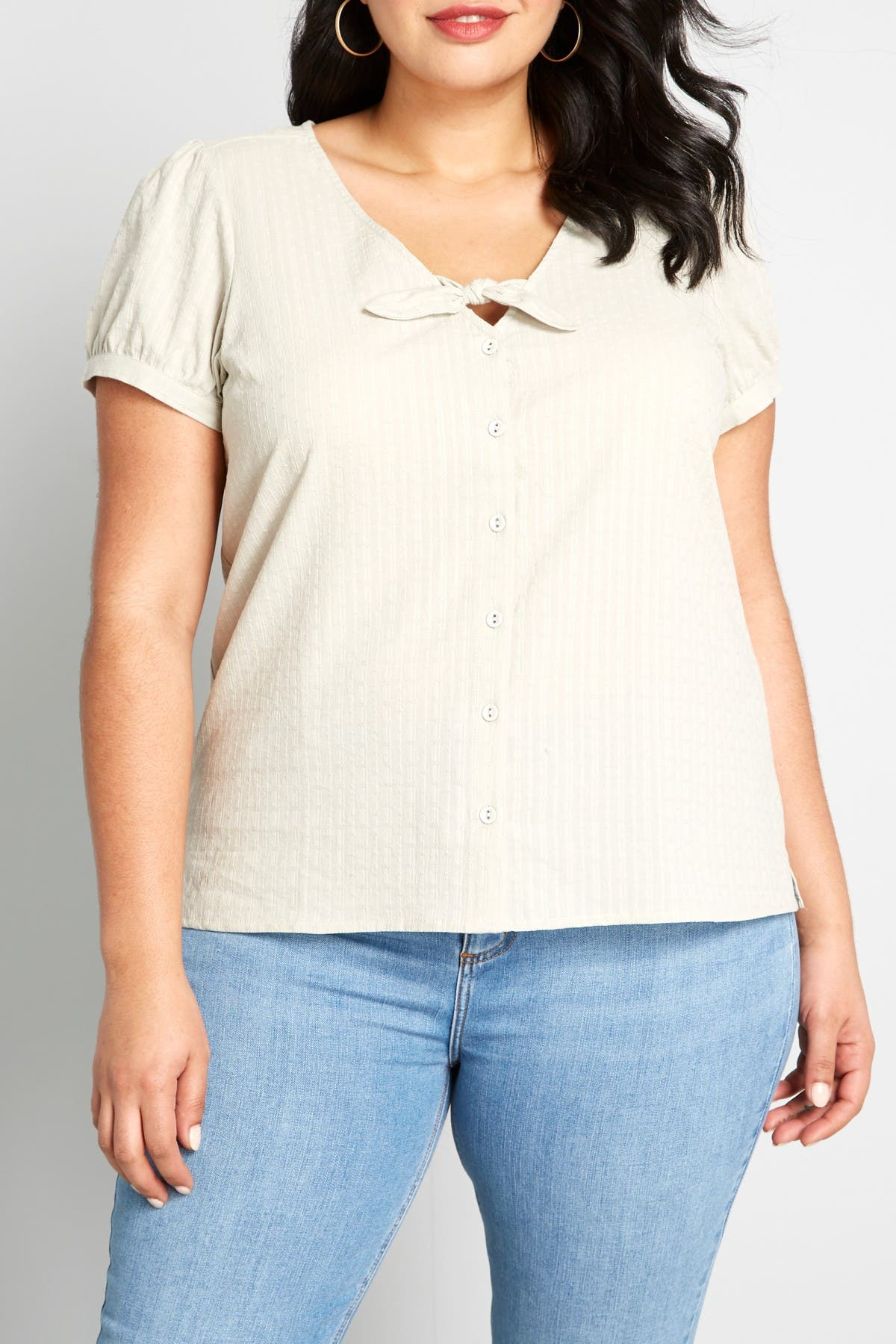Image of MODCLOTH Polished Touch Short Sleeve Shirt