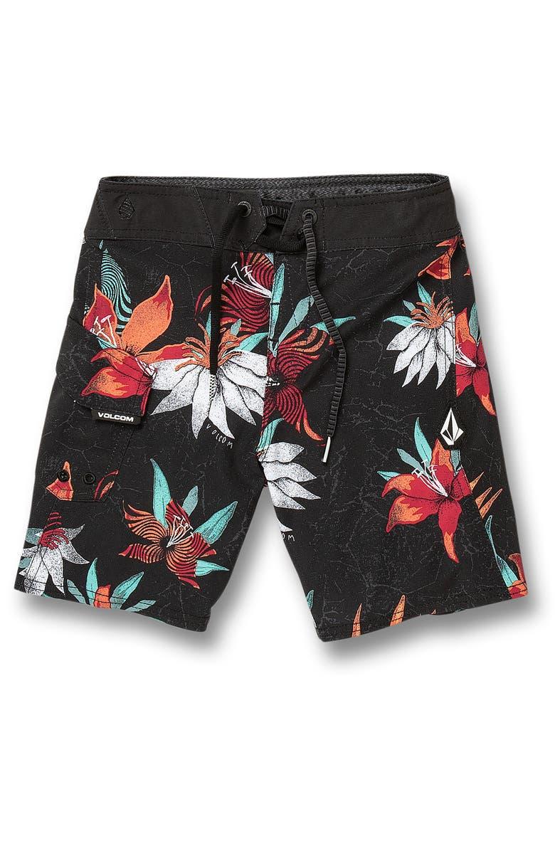 VOLCOM Verano Stone Mod Board Shorts, Main, color, BLACK