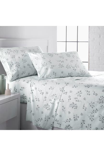 Image of SOUTHSHORE FINE LINENS Queen Premium Collection Printed Deep Pocket Sheet Sets - Sweet Florals Blue