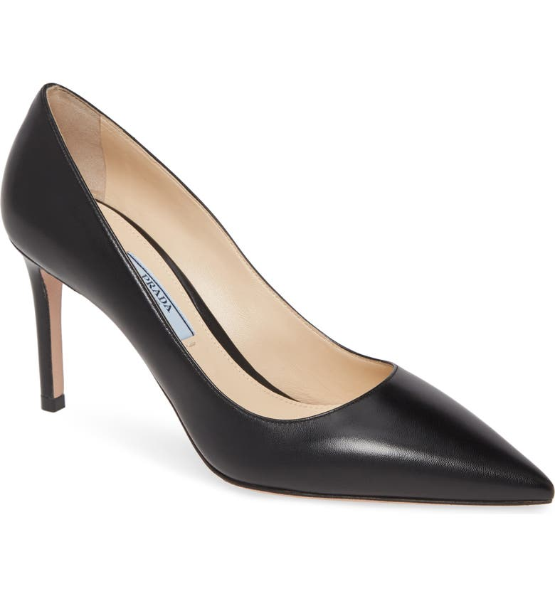 PRADA Pointy Toe Pump, Main, color, BLACK LEATHER