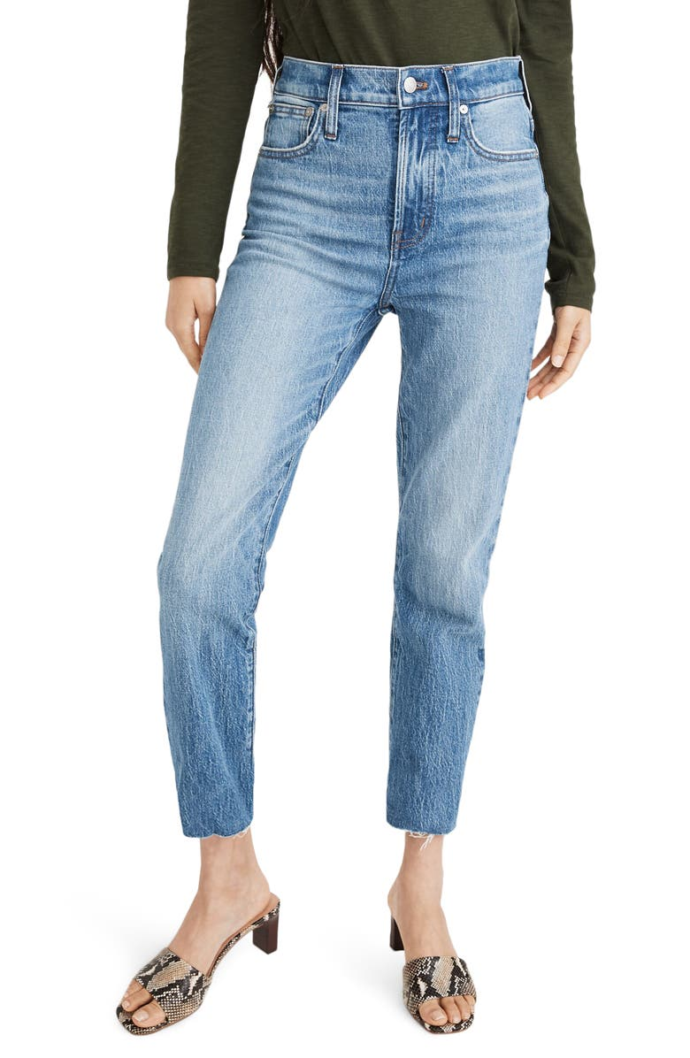 MADEWELL The Perfect Vintage Raw Hem Jeans, Main, color, ENMORE WASH