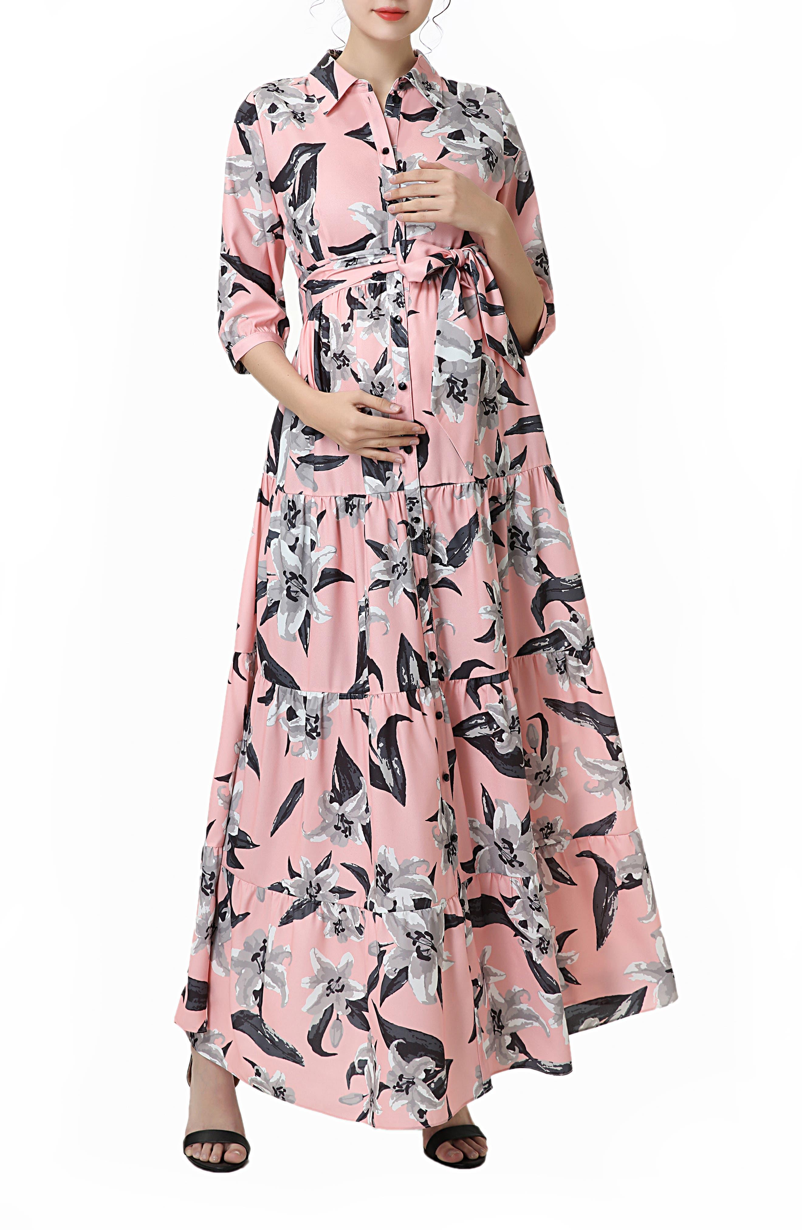 Cora Floral Belted Maternity/nursing Maxi Dress