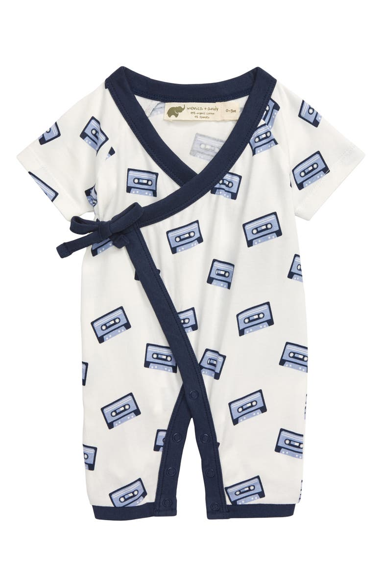 MONICA + ANDY Sweet Baby Cassette Tape Wrap Romper, Main, color, 100