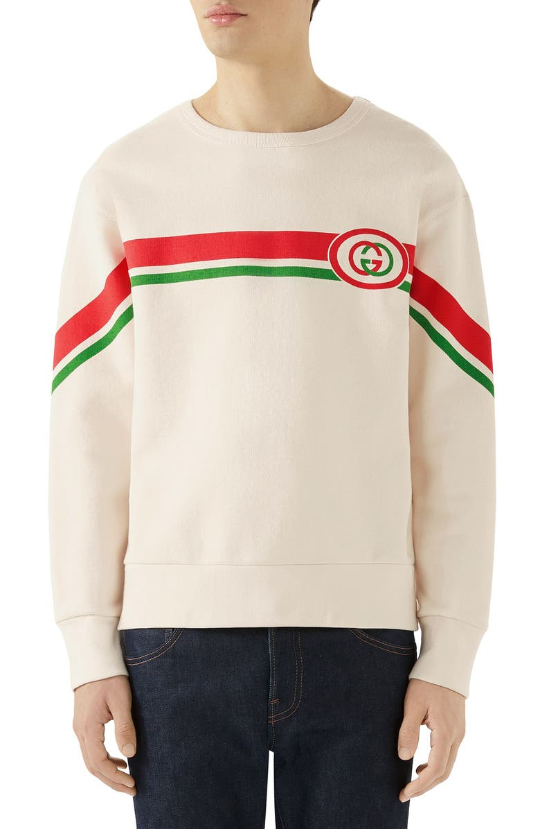 GUCCI Logo Print Sweatshirt, Main, color, NATURAL