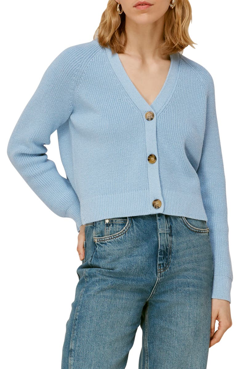 WHISTLES May Crop Cardigan, Main, color, PALE BLUE