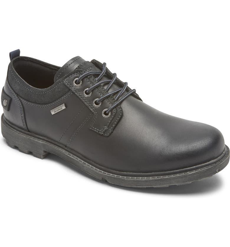 ROCKPORT Rugged Bucks II Waterproof Plain Toe Derby, Main, color, BLACK LEATHER/ SUEDE