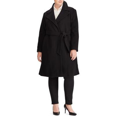 Plus Size Lauren Ralph Lauren Wool Blend Wrap Coat, Black