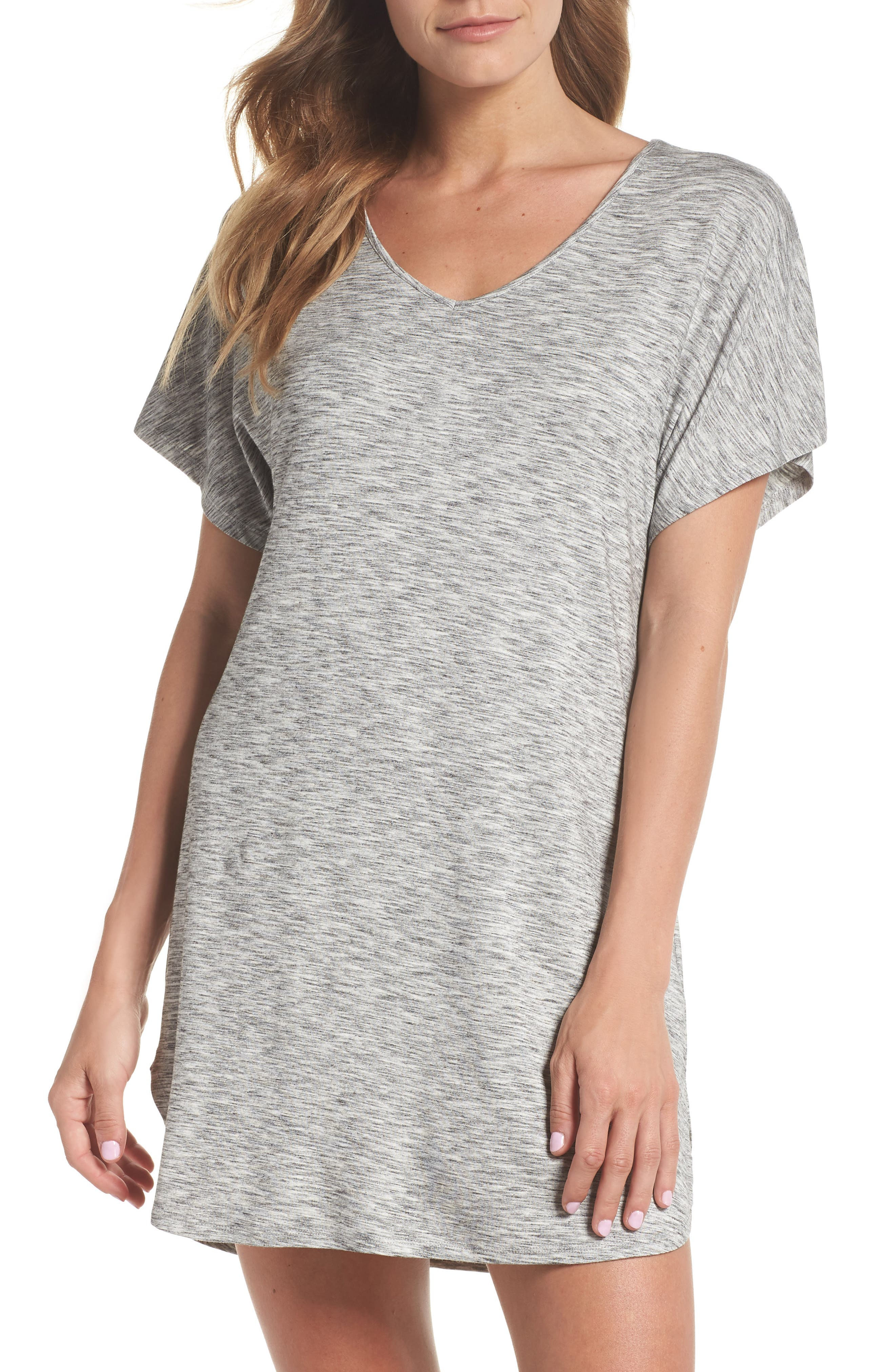 Nordstrom Lingerie Dolman Sleeve Nightshirt, Grey