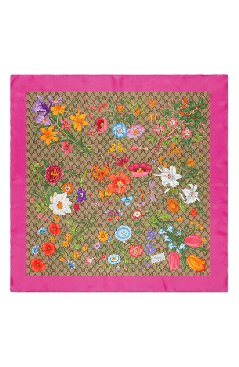GUCCI GG Flora Print Silk Twill Scarf, Main, color, BEIGE/ PINK