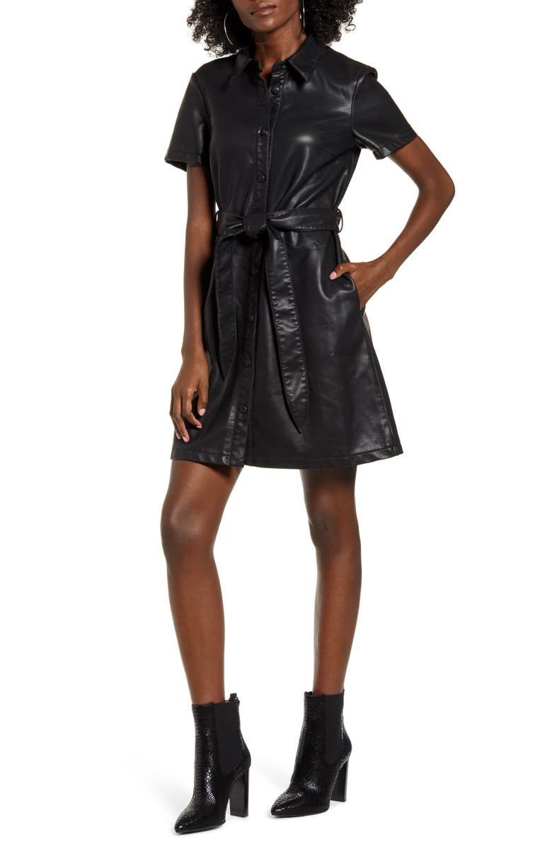 BLANKNYC Belted Faux Leather Shirtdress, Main, color, THE PUNISHER
