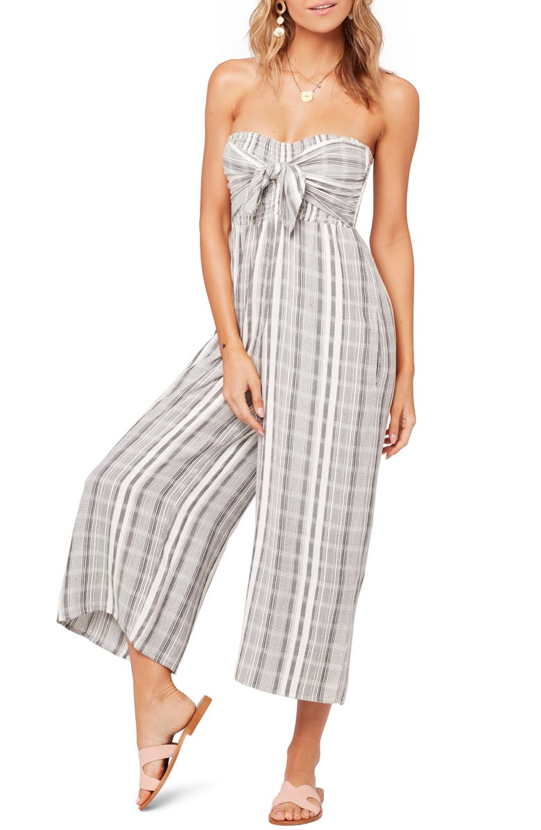 L SPACE Strapless Riri Wide Leg Jumpsuit, Main, color, 020