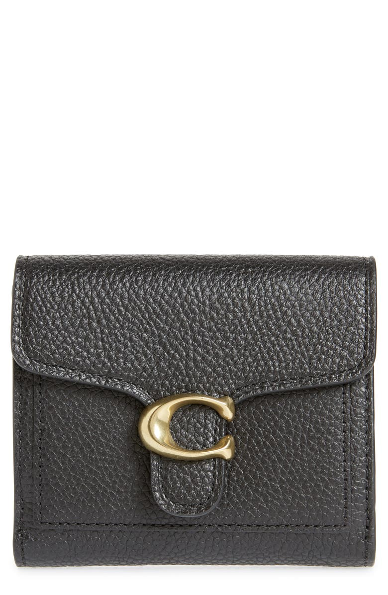 COACH Small Tabby Leather Wallet, Main, color, B4/ BLACK