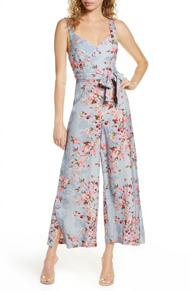 EVER NEW Floral Split Wide Leg Linen Blend Jumpsuit, Main, color, TRAILING FLORAL