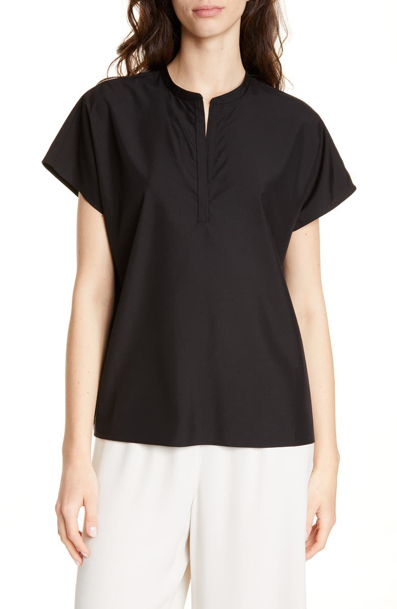 EILEEN FISHER Mandarin Collar Top, Main, color, BLACK